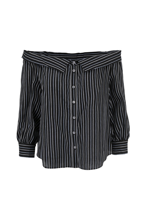 Veronica Beard Britta Black & White Off-Shoulder Blouse