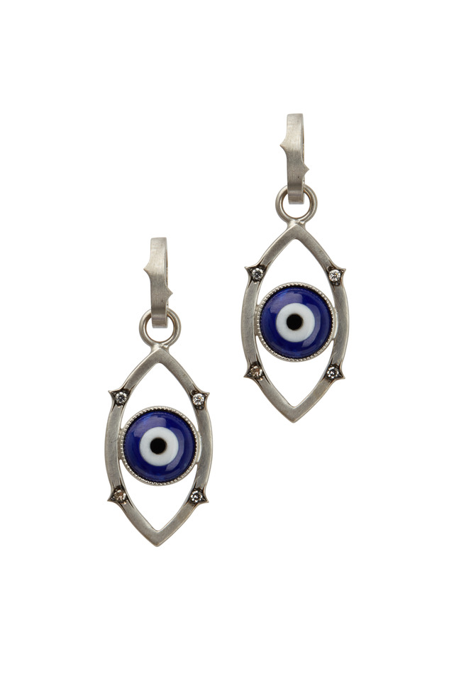 White Gold Blue Agate Diamond Evil Eye Pendant