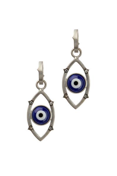 Sylva & Cie - White Gold Blue Agate Diamond Evil Eye Pendant