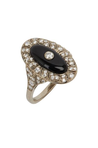 Kwiat - Vintage White Gold Black Onyx White Diamond Ring