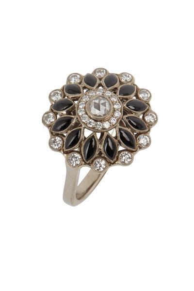 Kwiat - 18K White Gold Onyx & Diamond Ring