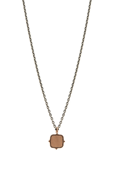 Sylva & Cie - Rose Gold Black Diamond Name Plate Pendant