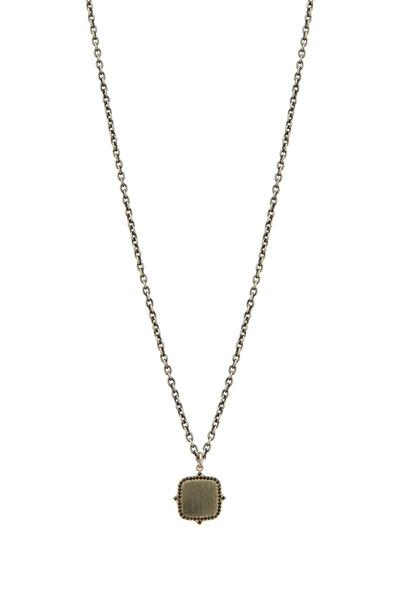 Sylva & Cie - White Gold Black Diamond Name Plate Pendant