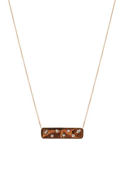 Kimberly McDonald - Rose Gold Diamond Studded Plate Pendant
