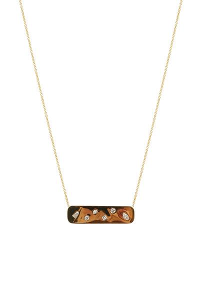 Kimberly McDonald - Yellow Gold Diamond Studded Plate Pendant