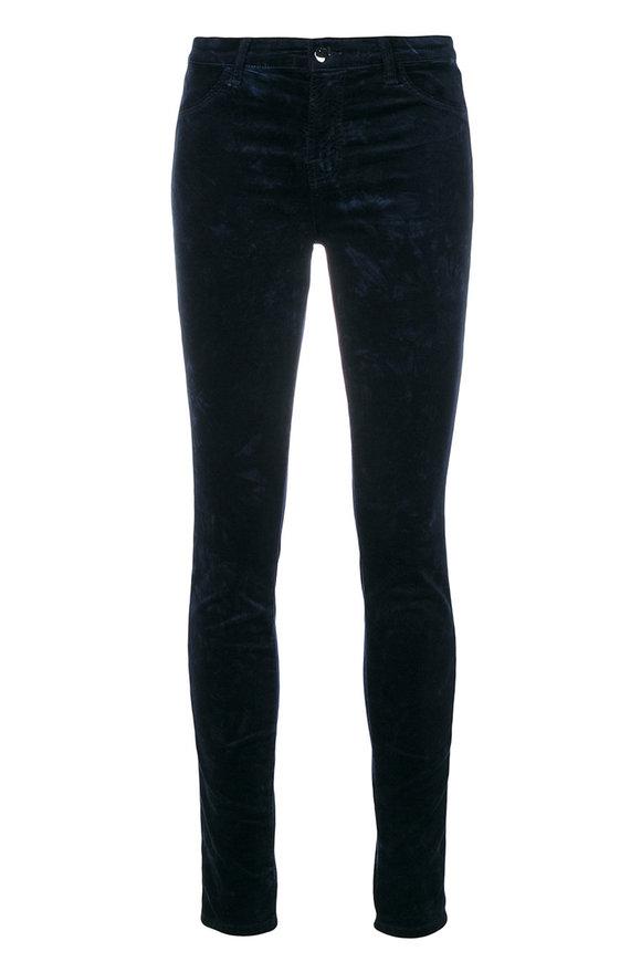 J Brand Maria Dark Iris Velvet Mid-Rise Skinny Jean