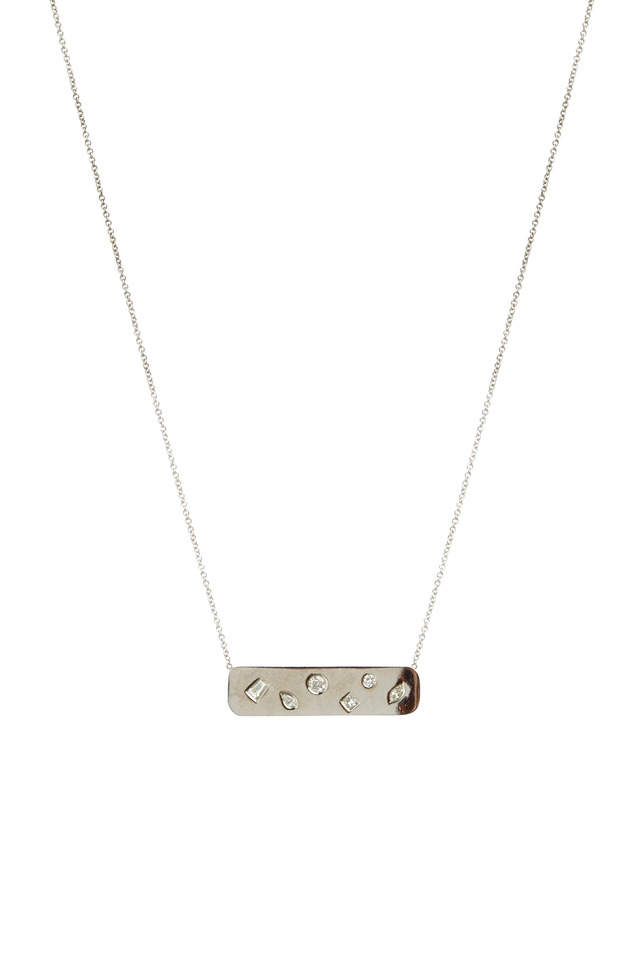 White Gold Diamond Studded Plate Pendant Necklace