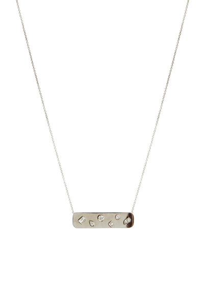 Kimberly McDonald - White Gold Diamond Studded Plate Pendant Necklace