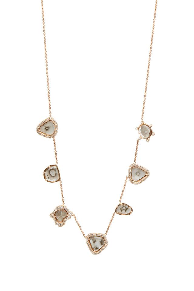 Rose Gold Diamond Slice Charm Necklace
