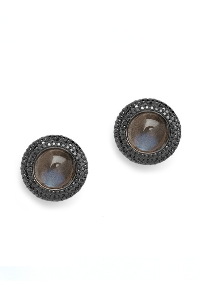 Syna - Labradorite Black Diamond Earrings