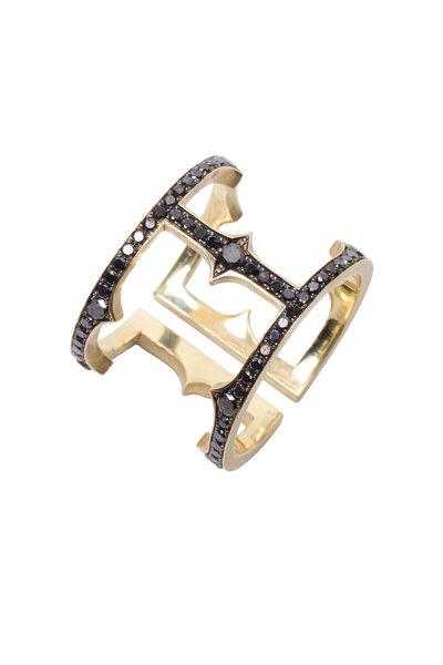 Sylva & Cie - Yellow Gold Black Diamond Cage Ring