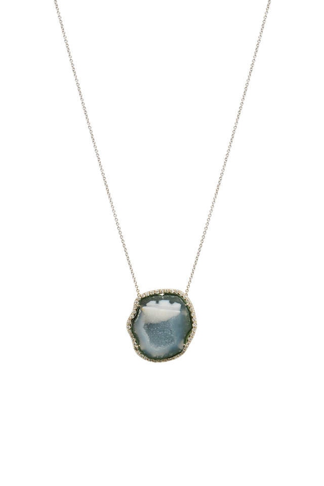 White Gold Light Blue Geode Diamond Necklace