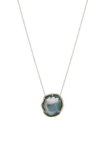 Kimberly McDonald - White Gold Light Blue Geode Diamond Necklace