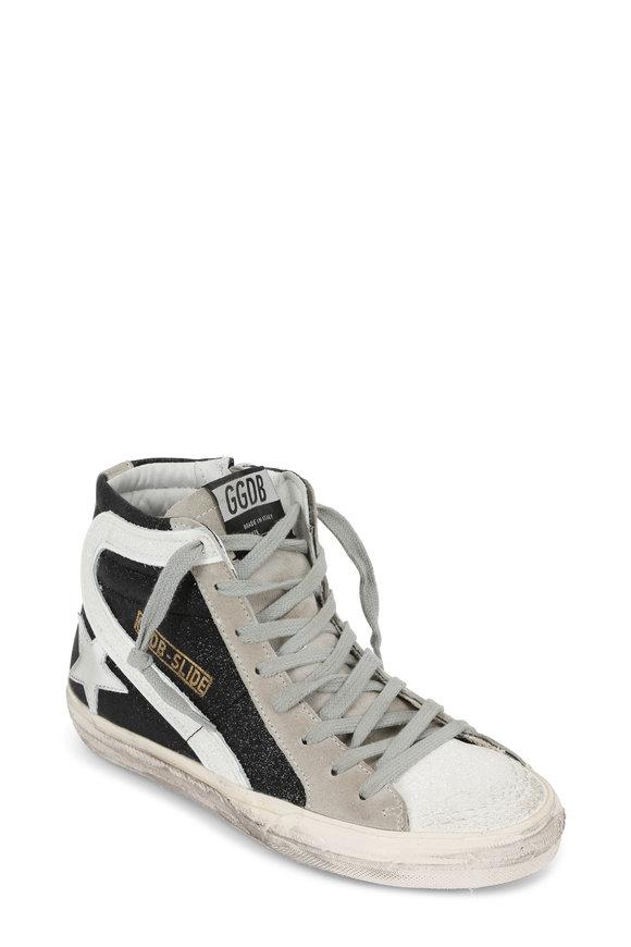Golden Goose Women's Black & White Glitter Slide Sneaker