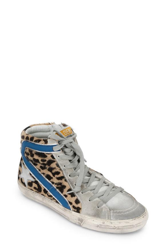 Golden Goose Ice Blue & Leopard Calf Hair Slide Sneaker