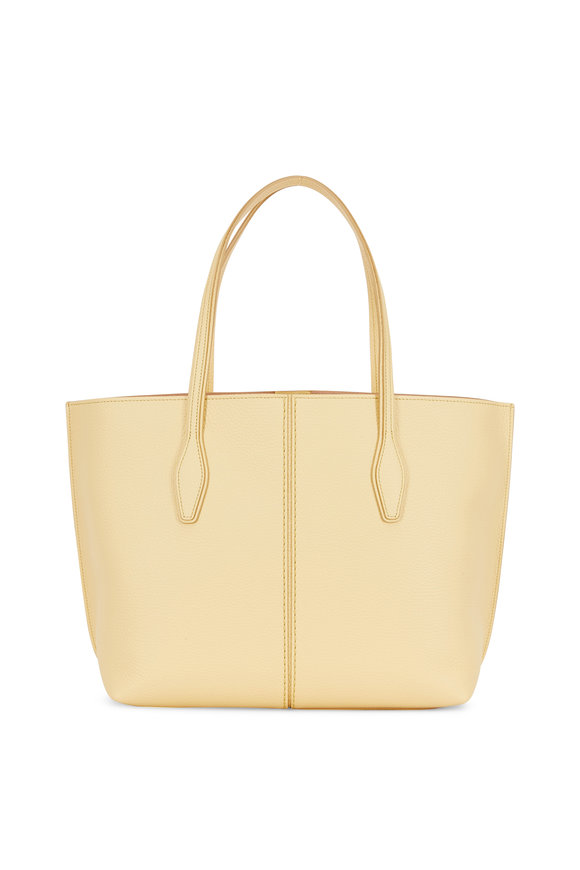 Tod's Joy Yellow Grained Leather Medium Open Tote
