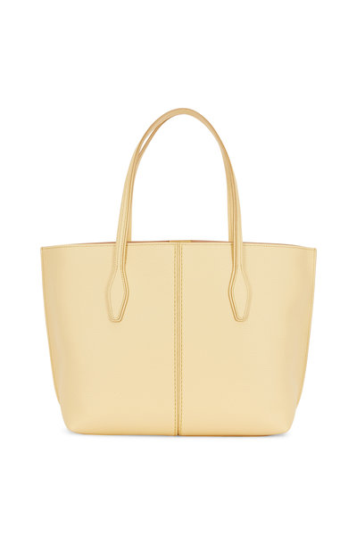 Tod's - Joy Yellow Grained Leather Medium Open Tote