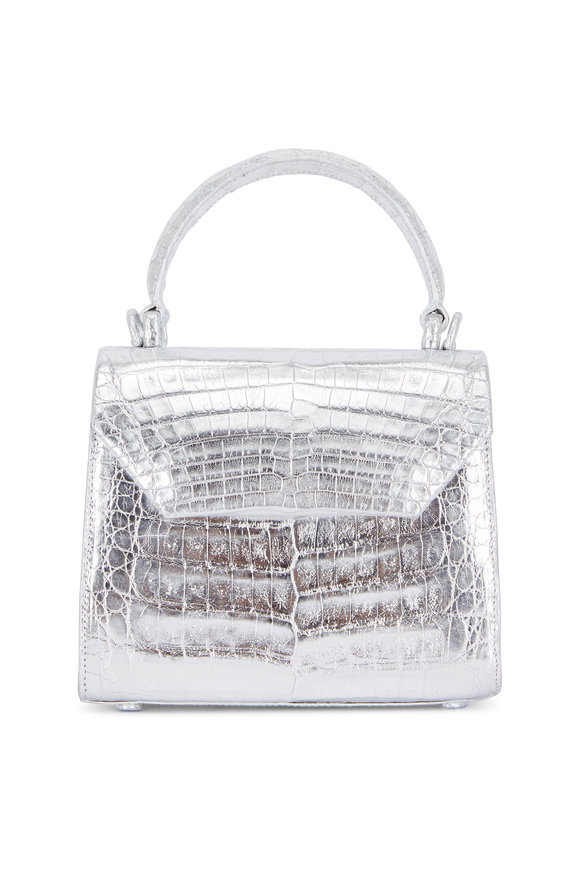 Nancy Gonzalez Silver Crocodile Mini Top-Handle Bag