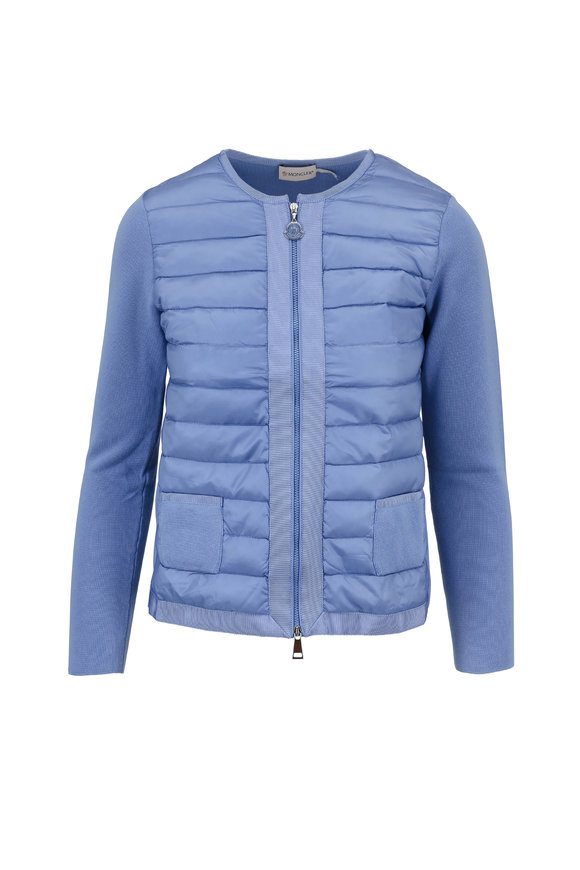 Moncler Maglia Light Blue Quilted & Knit Cardigan Jacket