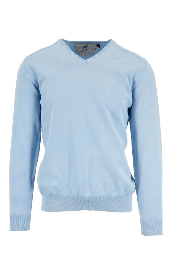 Raffi  Sky Blue Stonewashed Cotton V-Neck Sweater