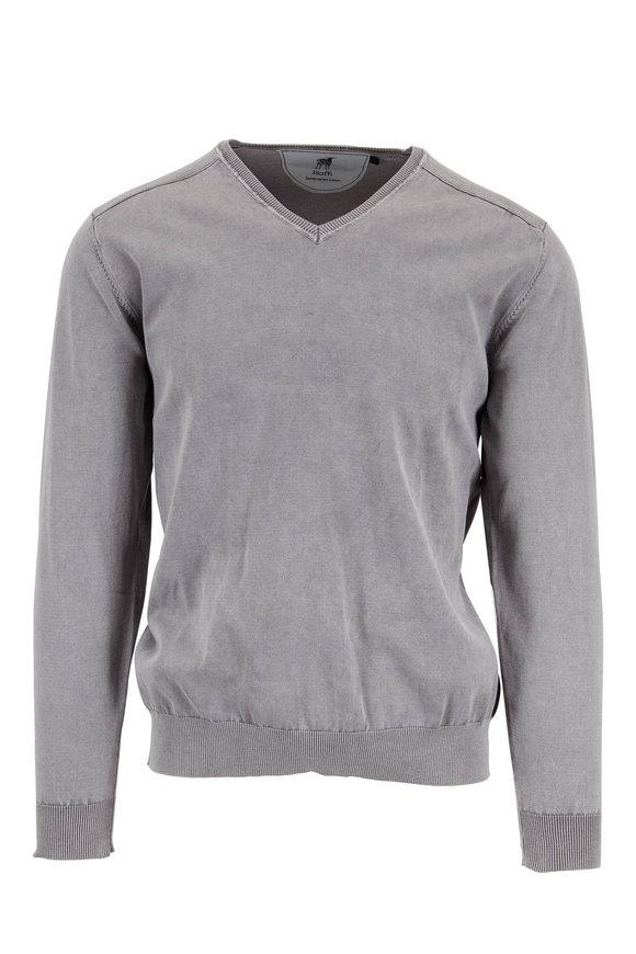 Raffi  Steel Gray Stonewashed Cotton V-Neck Sweater
