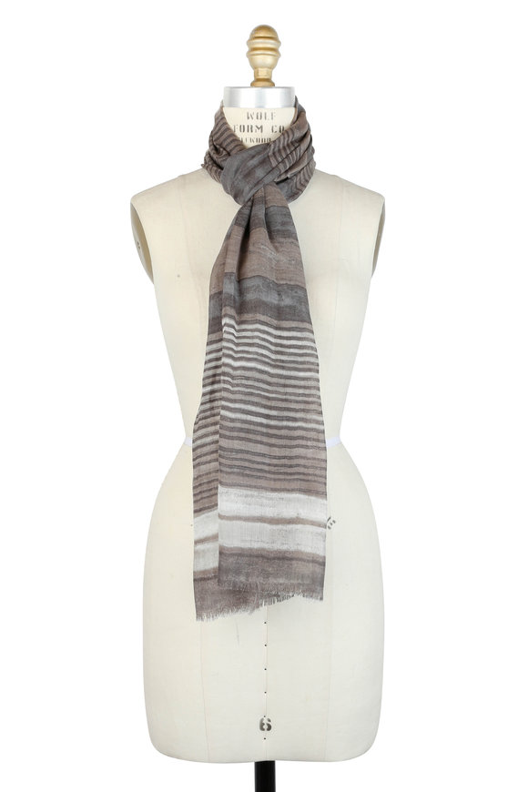 Kinross Taupe Tonal Striped Cashmere, Silk & Linen Scarf