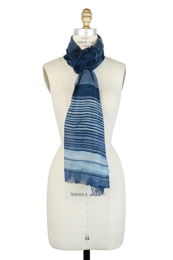 Kinross Blue Tonal Striped Linen, Cashmere & Silk Scarf