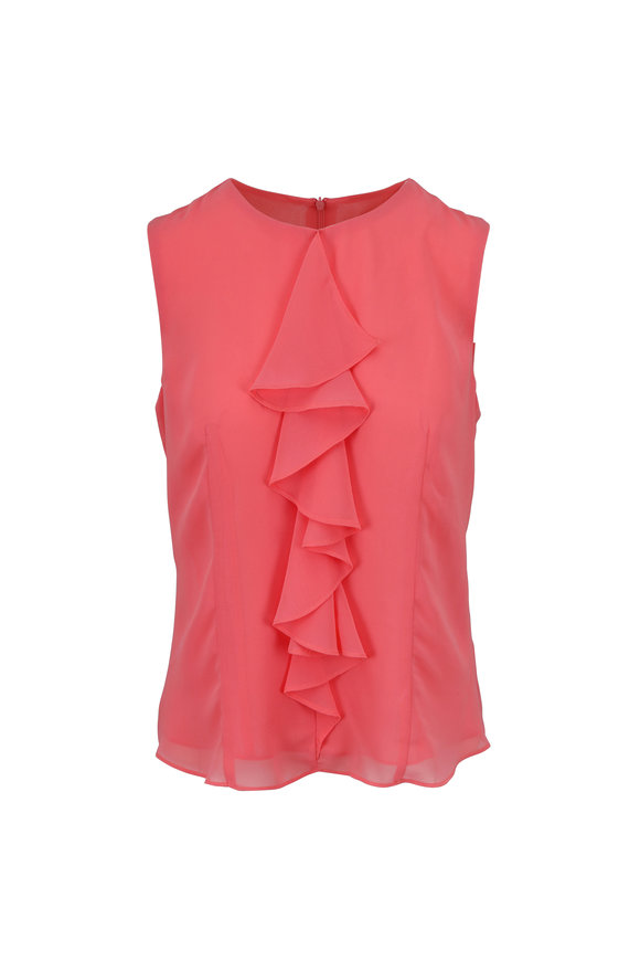 Donna Degnan Coral Ruffle Front Sleeveless Blouse