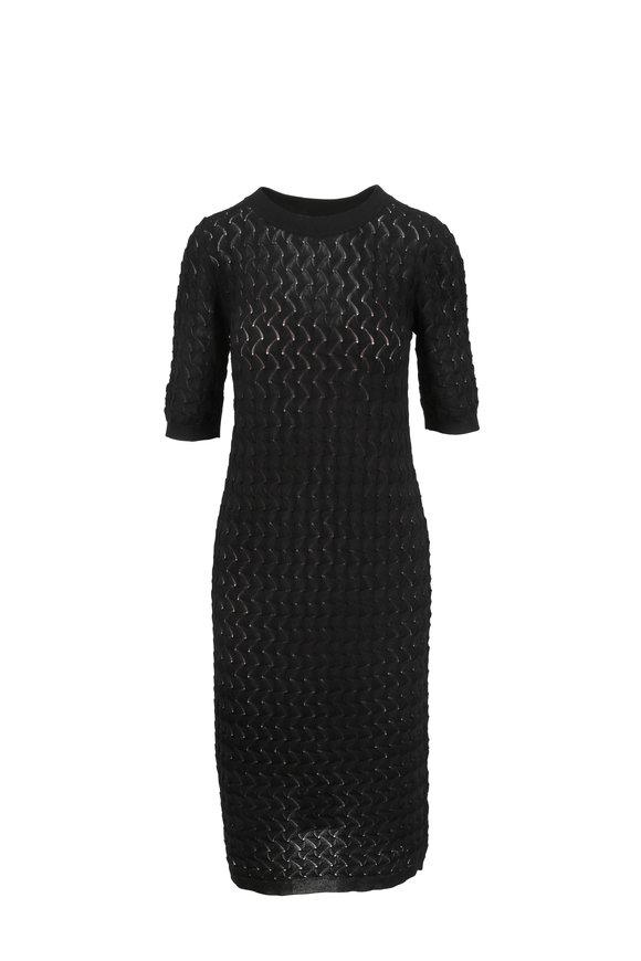 Partow Black Pointelle Knit Midi Dress