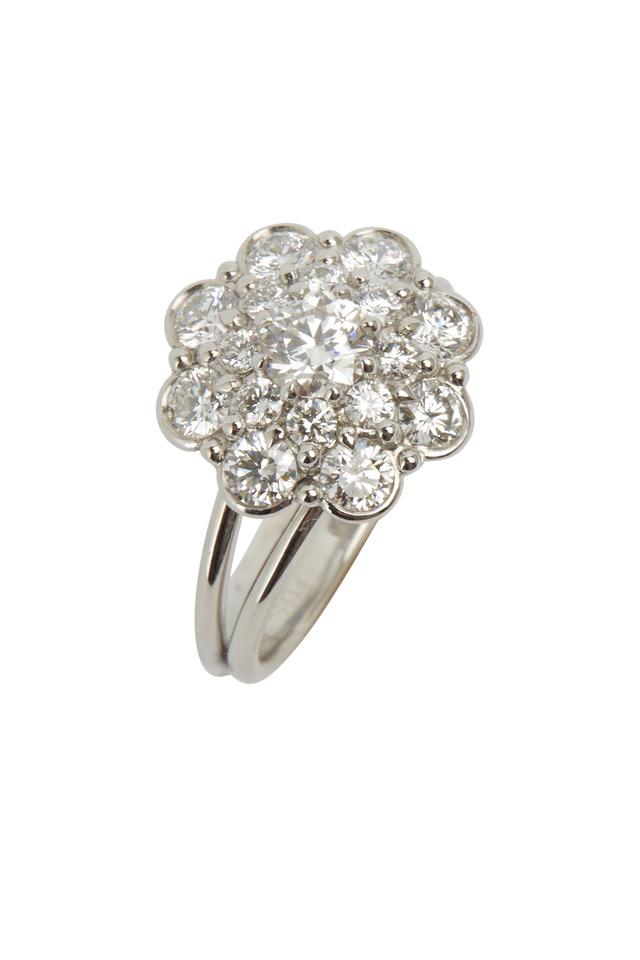 Platinum White Diamond Cluster Flower Ring