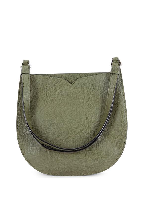Valextra Weekend Moss Saffiano Convertible Small Hobo Bag