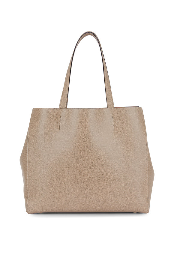 """Valextra Oyster Saffiano Leather """"V"""" Large Tote"""