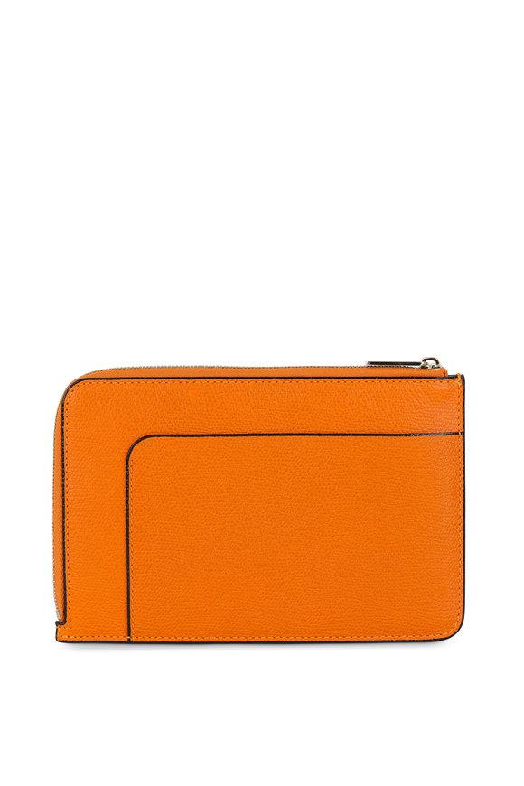 Valextra Orange Leather Zip Pouch Crossbody