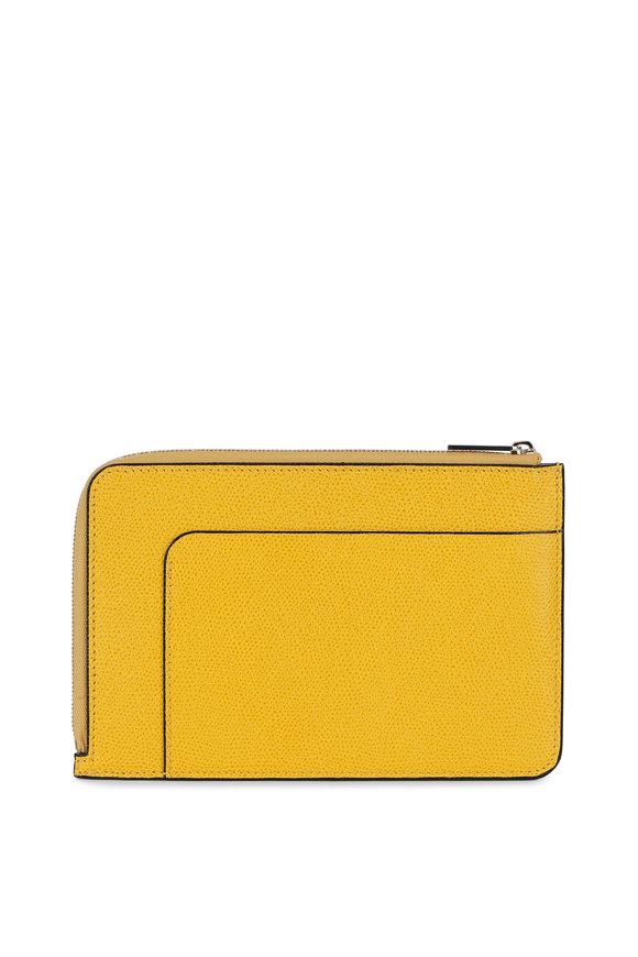 Valextra Yellow Leather Zip Pouch Crossbody