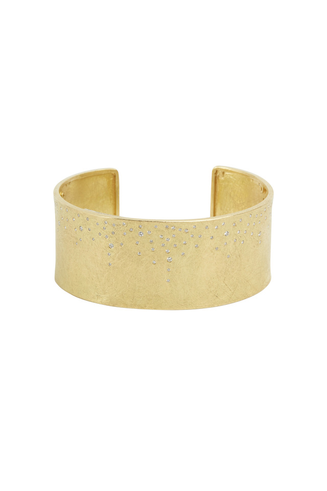 Yellow Gold White Diamond Cuff Bracelet