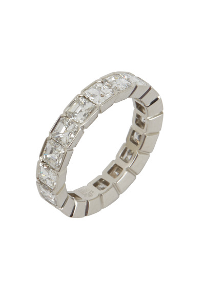 Kwiat - Platinum Asscher Cut Diamond Half Bezel Ring