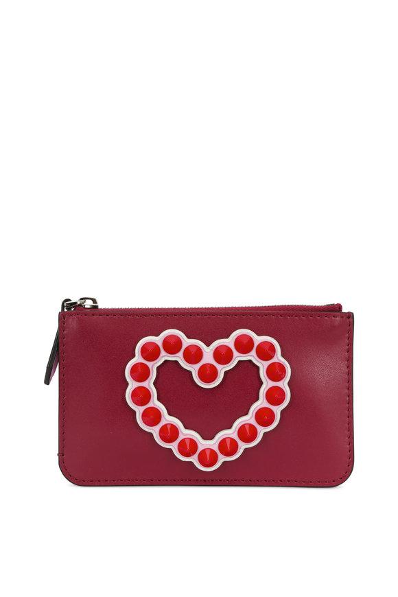 Fendi Cherry Heart Studded Mini Zip Pouch