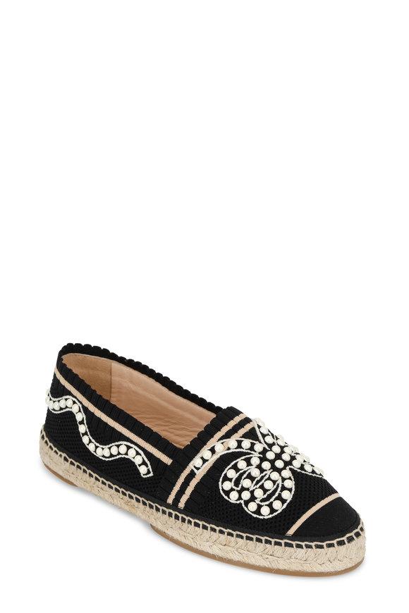 Fendi Black Elastic Knit Pearl Bow Espadarille