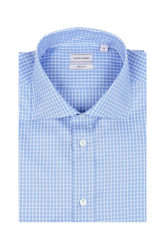 Luciano Barbera Blue & White Mini Check Sport Shirt