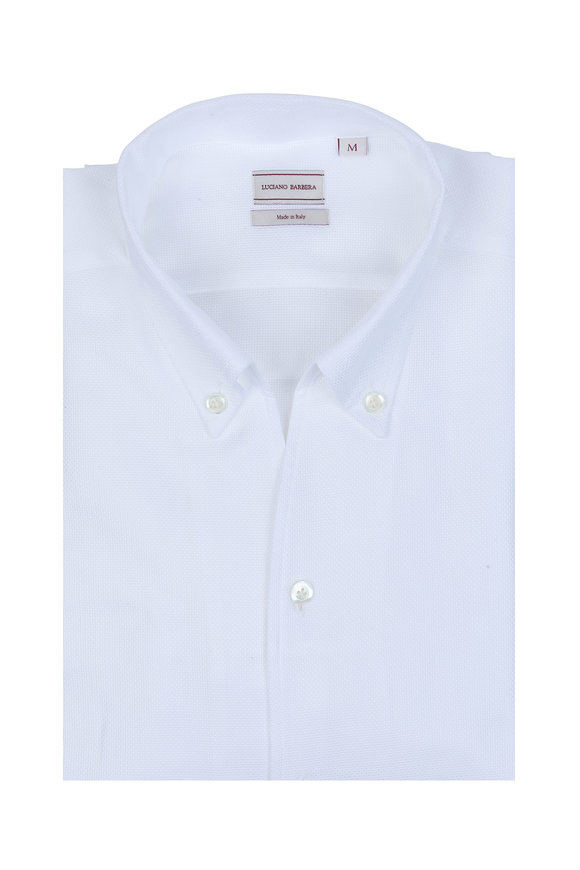 Luciano Barbera Solid White Textured Sport Shirt