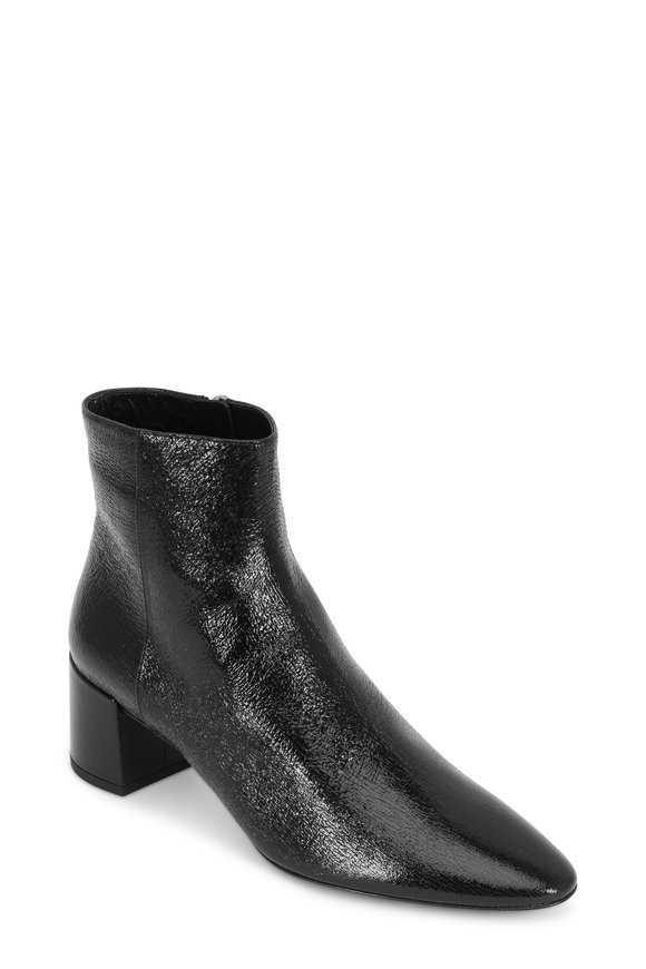 Saint Laurent Black Cracked Glossy Leather Ankle Boot, 50mm
