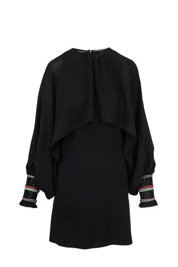 Chloé Robe Black Shift & Detachable Chiffon Cape Overlay