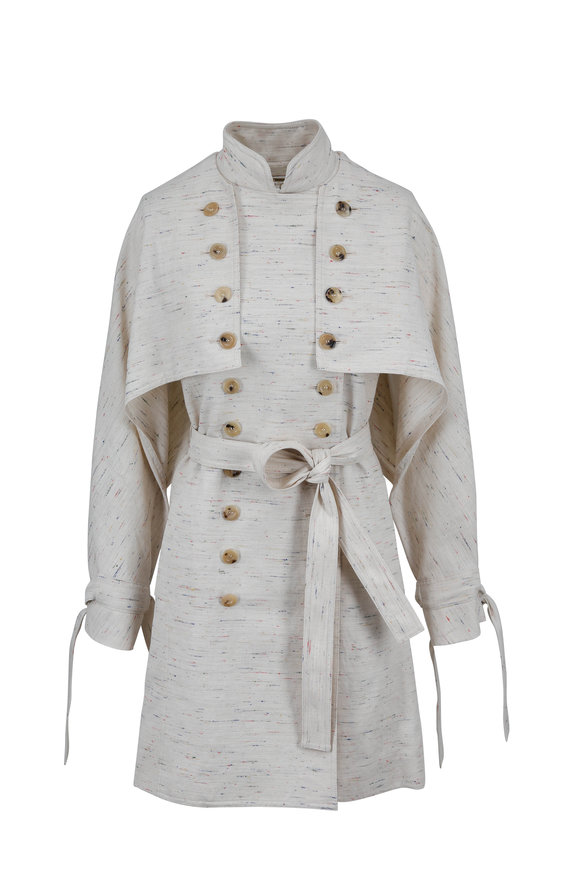 Chloé Ivory Multicolor Flecked Trench Coat With Cape