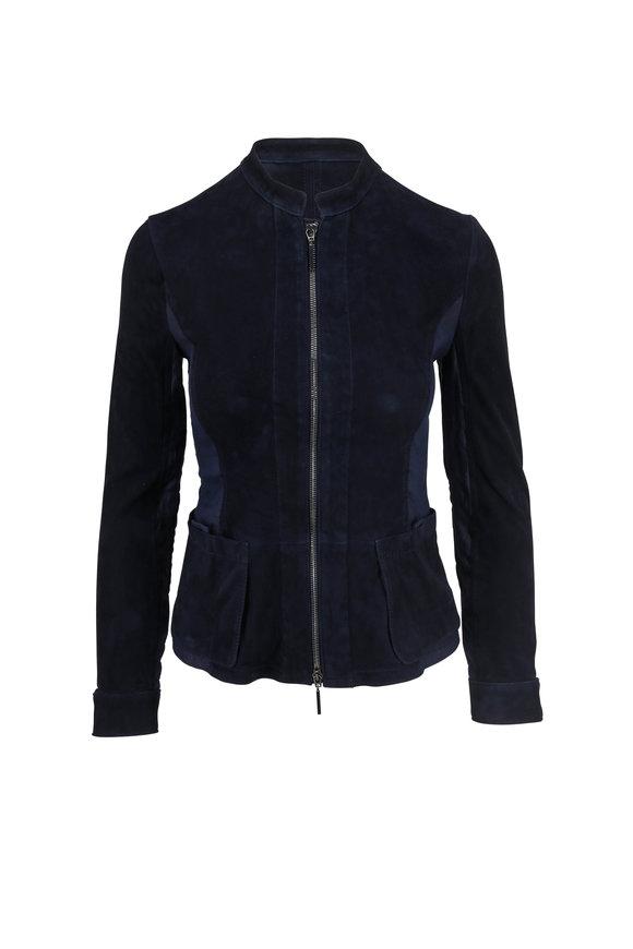 Emporio Armani Navy Blue Suede & Linen Moto Jacket