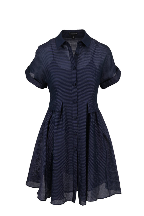 Emporio Armani Blue Organza Button Front Dress