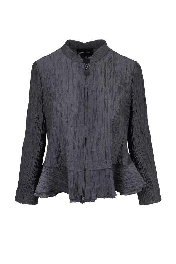 Emporio Armani Gray Plissê Peplum Jacket
