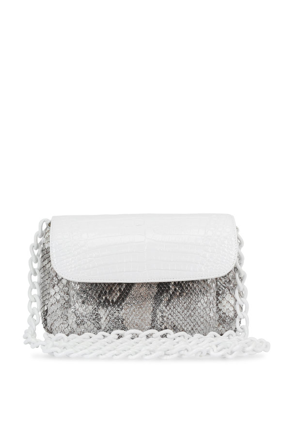 Nancy Gonzalez White Crocodile & Metallic Silver Python Mini Bag