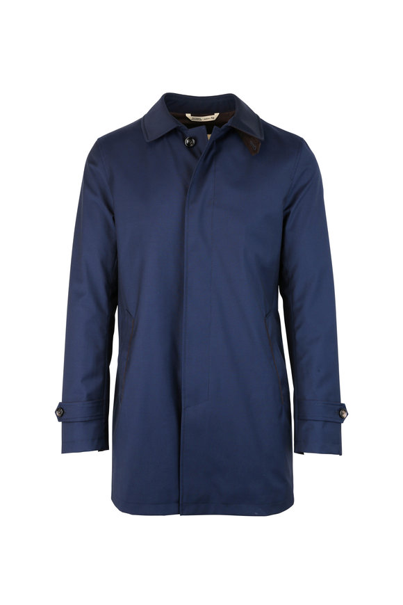 Navy Blue Wool Raincoat