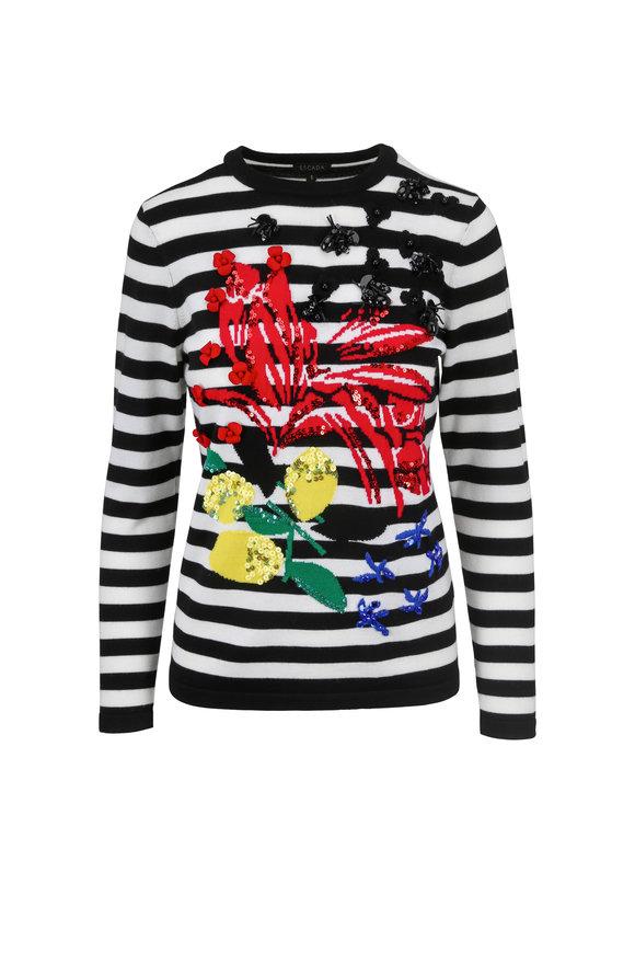 Escada Sintarsia Fantasy Wool Striped Sweater