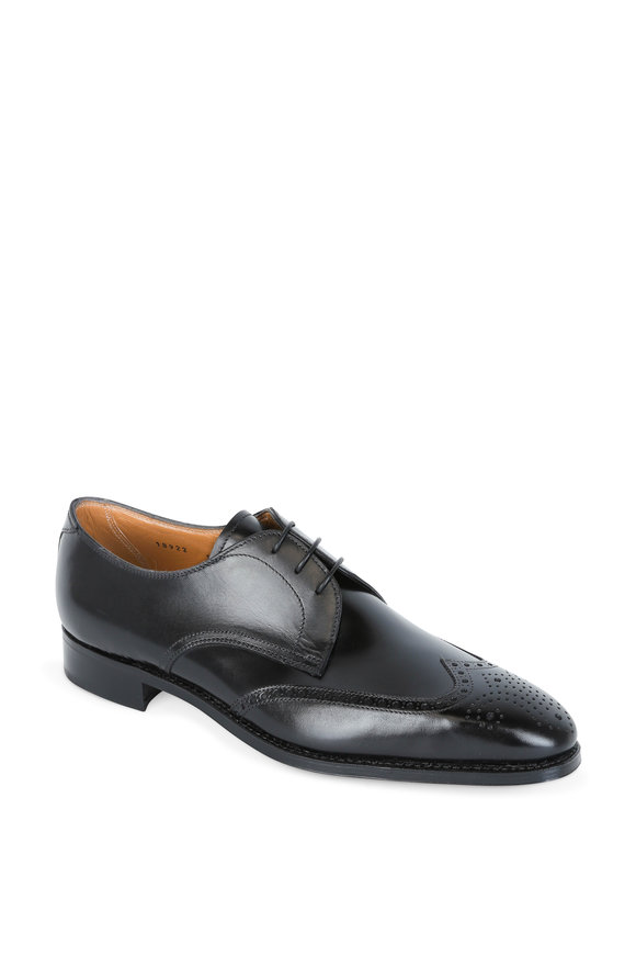 Gravati Black Leather Wingtip Derby Dress Shoe